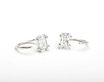 White Zirconia Hug Hoops, Sterling Silver, Gold Plated, Gemstone Hug Earrings, Open Hoops, Minimal Lunaijewelry, Gift for her, EAR145WCZ