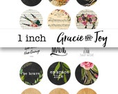 Girl Boss, Mixed media,Bottle cap images, 1 inch, cabochon,pattern, gracie and joy,buttons, magnets pendants