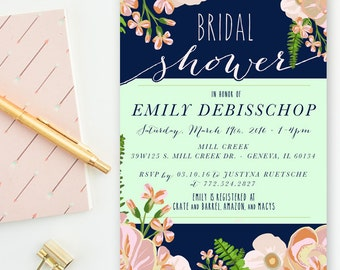 Navy, Blush & Mint - Floral Peony Bridal Shower, Wedding Invitations