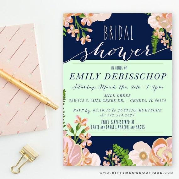 Navy Blush Amp Mint Floral Peony Bridal Shower Wedding