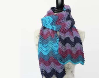 Hand Knit Lace Scarf, Beautiful Handmade Women's Scarf in Blue and Purple, Made in Montana, Ready to Ship