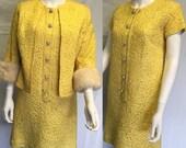 Vintage Lemon Meringue Silk Ribbon Dress with Mink Cuffed Box Jacket - Circa 1960s - Jackie-O