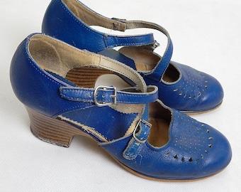 Original 1970s Vintage Blue Leather Clogs/Shoes UK Size 8 / EU 41
