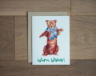 Holiday card, holiday greetings, warm wishes, illustrated card, bear card
