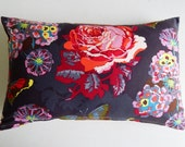 Decorative Pillow Cover - Cottage Chic Farmhouse - Ticking - Jute Webbing - Gray Navy Pink Purple Floral Print