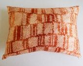 Copper Shibori Pillow Cover - Rust Boho Silk Decorative Throw Pillow