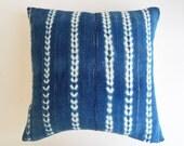 Vintage African Mudcloth Pillow Cover with Metallic Threads - Indigo Shibori Throw Pillow - Boho Luxe Pillows
