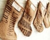 Personalized Burlap Christmas Stockings from Coffee Sacks - Vintage Farmhouse Christmas Stockings Burlap