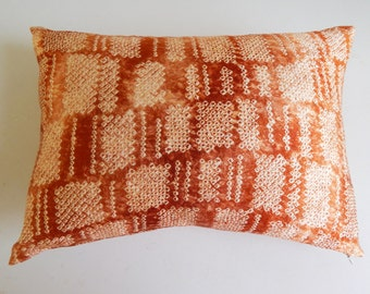 Copper Shibori Pillow Cover - Rust Boho Silk Decorative Throw Pillow
