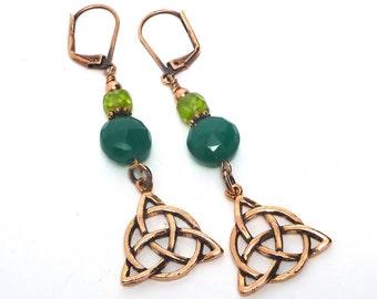 Green Agate Celtic Knot Earrings, Copper Celtic, Emerald Green Agate, Peridot Triquetra Earrings,  St. Patricks Day, Copper Earrings,