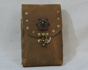 Customizable Flask or Cell Phone Pouch, Leather, Medallion, SCA, LARP, Motorcycle, Everyday, Handmade, USA Made