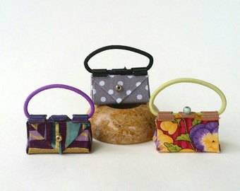 3 Doll Purses for Barbie or other Fashion Dolls.  Handcrafted. Liv, Fashion Royalty. Grey Polka Dots, Flower, and Striped purses. Cute! OOAK