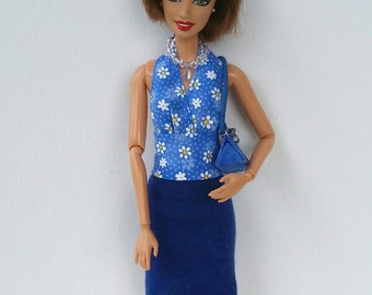 4-piece Barbie Outfit: Halter Top, Skirt, Necklace, Purse. Separates. Mix and Match. Blue. Daisy. Fashion Royalty, Silkstone Dolls. OOAK