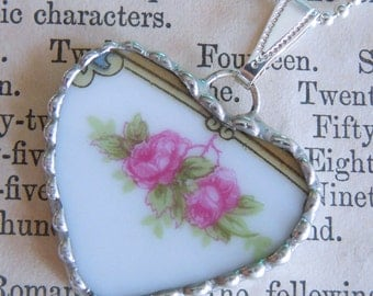 Fiona & The Fig Victorian Era-PINK ROSES-Broken China Soldered Necklace Pendant Charm-Jewelry
