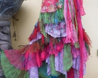"20%OFF wedding bohemian boho gypsy lagenlook OAK shabby mermaid wrap skirt...46"" across plus ties."