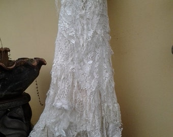 "RESERVED 20% OFF boho wedding dress formal brides maid bohemian lagenlook gypsy vintage... medium to 42"" bust.."