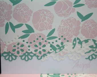 Pink and green floral Note Cards - Personalization may be added to a set of 10