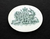 Antique English Royal Crest Ceramic Tile Lion Unicorn Art Deco Medallion Cabachon Supply Jewelry