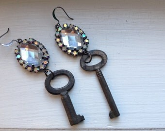 Skeleton Key Earrings Rhinestone Earrings  Repurposed One of A Kind FleaMarketStyle Jewelry