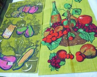 Kitchen Towel Set,1980s KayDee Pair of Fruit Motif Towels, New, Unused