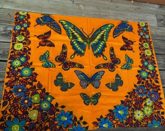 Gorgeous Butterfly Print Cotton Vintage Fabric