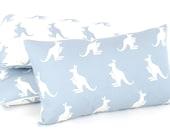 """Australian Kangaroo Pillow Cover (12""""x20""""), Blue Pillow, Reversible, Nursery Chair Pillow, Animal Nursery, Lumbar Pillow, Kanga + Roo"""