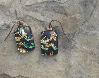 Earthy Dragonfly Earrings Fused Dichroic Glass Dragonfly Jewelry