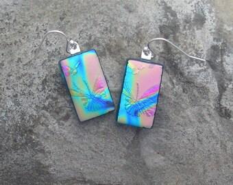 Butterfly Earrings Fused Dichroic Glass Butterfly Rainbow Earrings