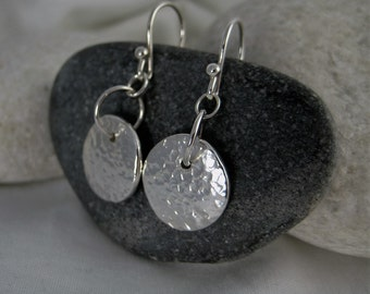 Silver Hammered/Textured Pebble Bead Earrings