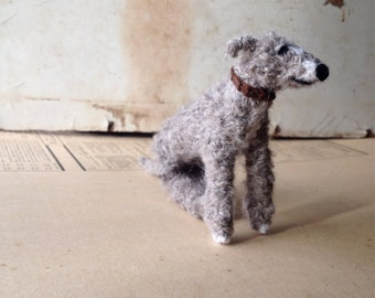 Lurcher/Bedlington Knitted dog