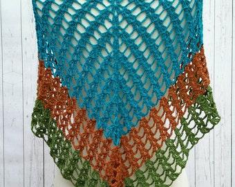 Modern Fashion Lace Triangle Shawl Color blocked Turquoise Blue Copper Green Baby Alpaca So Soft