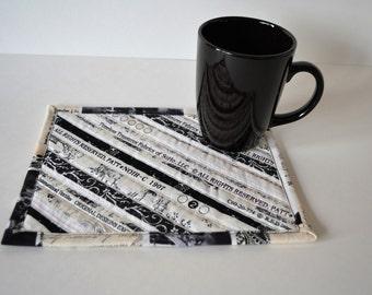 Black Quilted Cotton Mug Rug, Neutral Color Decor Coaster, Drink Coaster, Selvage Upcycled Mug Mat