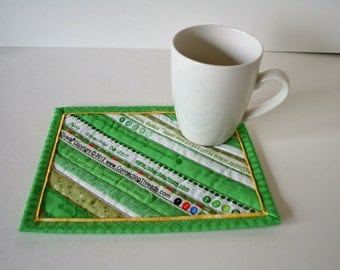 Green Quilted cotton Mug Rug, Drink coasters, Mini placemats, mug mat, upcycled selvage, eco friendly, Selvedge