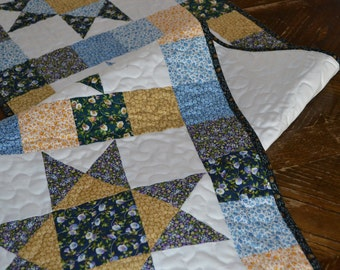 Calico Star Table Runner, Country Quilted Runner, Rustic Decor Table Center, Blue Gold Star