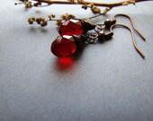 SALE Red Drops Earrings, Retro Copper Jewelry, Dark Red Dangle Earrings, Boho Red Drop Earrings