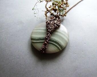 Fluorite Necklace, Woodland Gemstone Necklace, Fluorite Pendant, Boho Rustic Copper Fluorite Necklace
