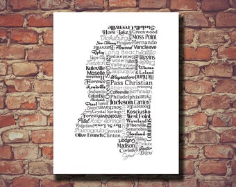 Mississippi Print, Mississippi Map, MS, State Map, Wedding, Personalized, Print, Custom, Cities, Housewarming Gift, Travel Map, State Love
