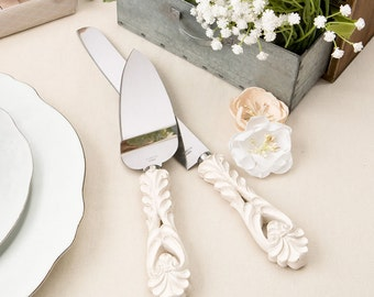 Personalized Vintage Antique Ivory Wedding Cake Knife and Server Serving Set with Engraving Personalization Server Engraved