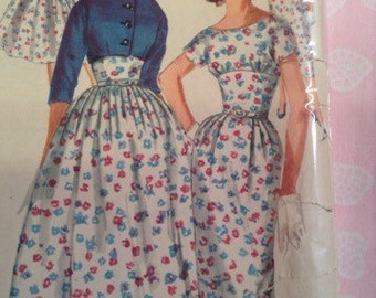 Vintage Simplicity 1990 Midriff Dress with Jacket Sewing Pattern 311/2 Bust
