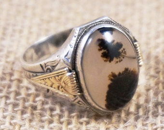 Ostby & Barton 10k Gold and Etched Sterling Silver Moss Agate Ring Mens Womens
