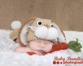 Newborn Easter bunny  , hat carrot,  & bottom cover set crochet Newborn photo props photography boy girl