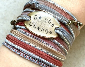 Boho Wrap Bracelet, BE THE CHANGE, boho wrap- yoga wrap, wrap bracelet, ribbon wrap bracelet, be the change you wish to see in the world