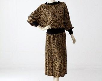 1980s leopard print dress with batwing sleeves, vintage blouson dress
