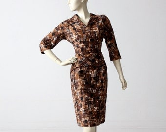 1950s wiggle dress with abstract print, vintage brown pencil dress
