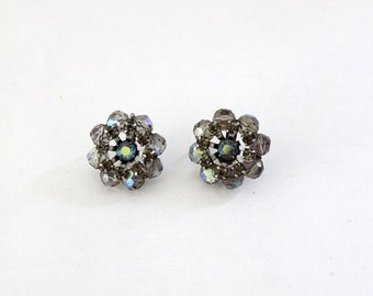 SALE 1950s rhinestone earrings, vintage costume jewelry, floral clip on earrings