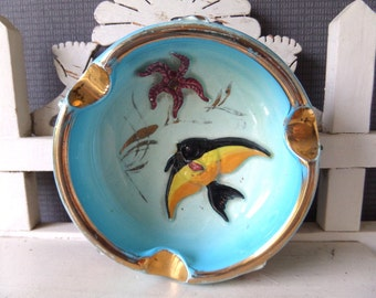 French vintage beautiful enamel  ashtray.. Monaco