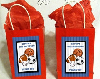 SALE Sports Theme Favor Tags 4x6 JPEG digital file personalized