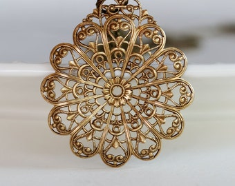 Large Filigree Brass Flower Pendant Necklace,Jewelry,Wedding Necklack,Boho,bridesmaid gift,Women's Jewelry,