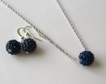 Navy blue crystal necklace and earrings, navy blue crystal bridal jewelry, bridesmaid gift, simple bridal set