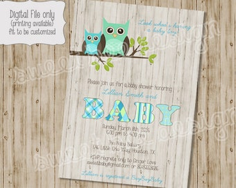 Baby Owl Shower Invitation, Baby Shower Invitation, Owl Baby Shower, Owl Theme Baby Shower, Baby Boy Invitation, Baby Girl Invitation
